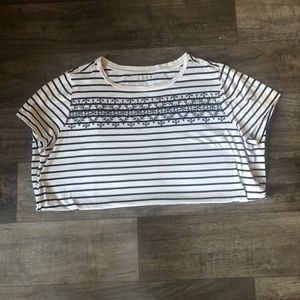 Loft Navy Striped Floral Embellished Tee